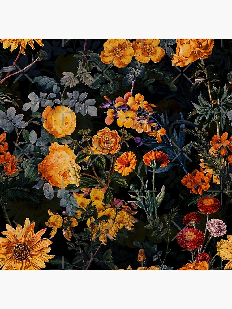 Vintage Botanical Golden Night Garden by UtArt