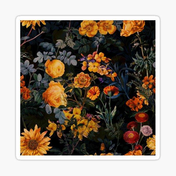 Vintage Botanical Golden Night Garden Sticker