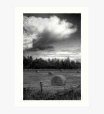 Clouds over Hayrolls  Art Print