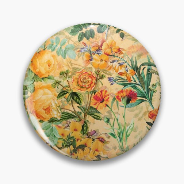 Vintage Botanical Golden Summer Day Garden  Pin