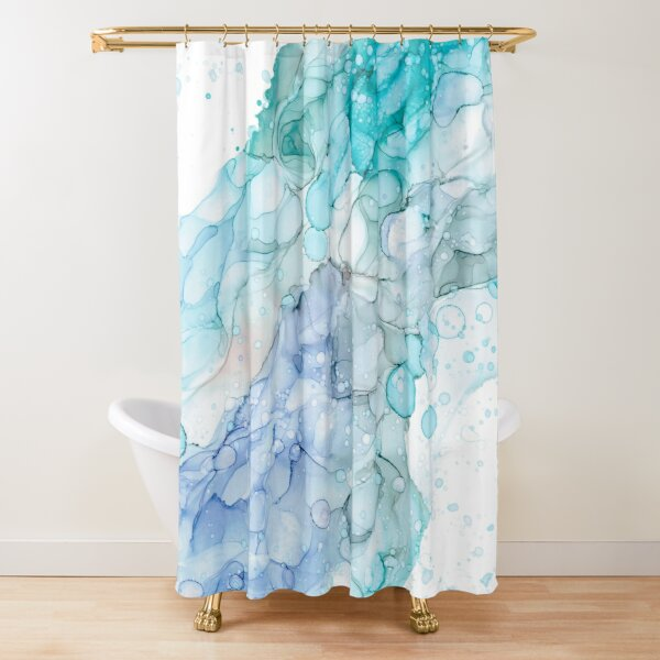 Magical Mermaid Waters: Original Abstract Alcohol Ink Painting Shower Curtain
