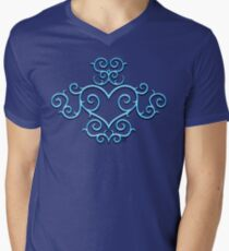 Blue Glow Victorian Tribal Heart Mens V-Neck T-Shirt