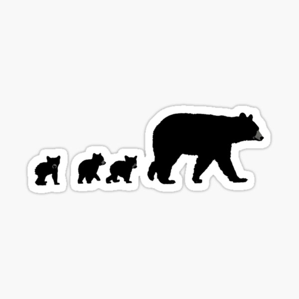 Mama Bear and her Cubs.  Sticker