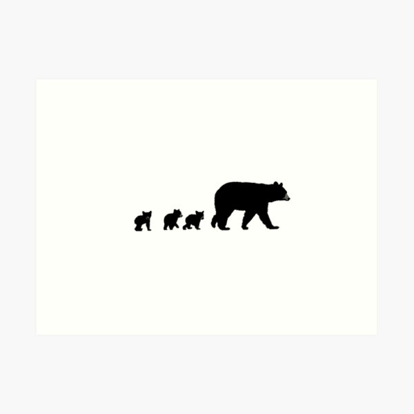 Mama Bear and her Cubs.  Art Print