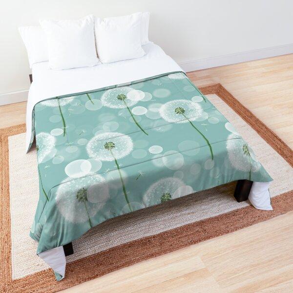 Dandelion on blue. Delicate pattern Comforter