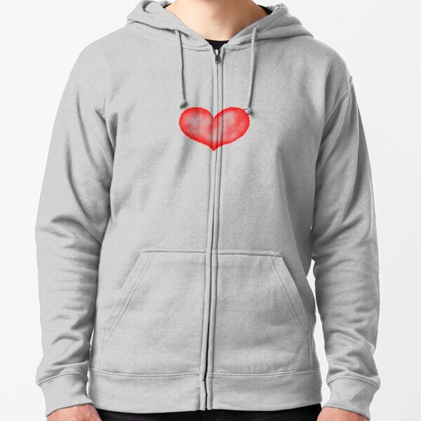 Watercolor heart Zipped Hoodie