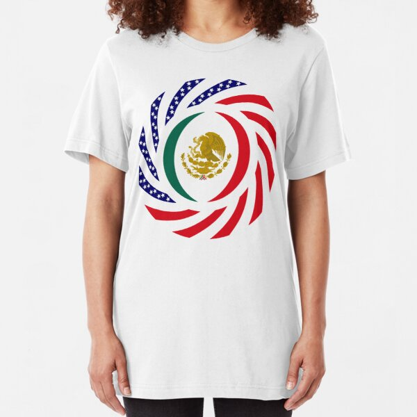 Mexican American Multinational Patriot Flag Series Slim Fit T-Shirt