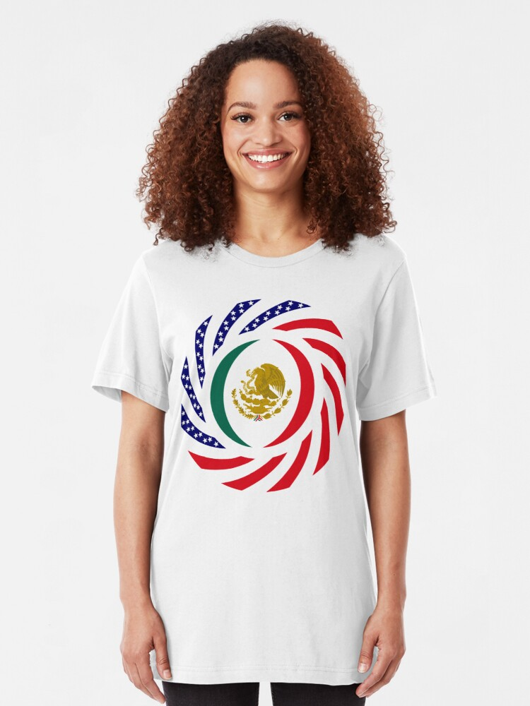Alternate view of Mexican American Multinational Patriot Flag Series Slim Fit T-Shirt