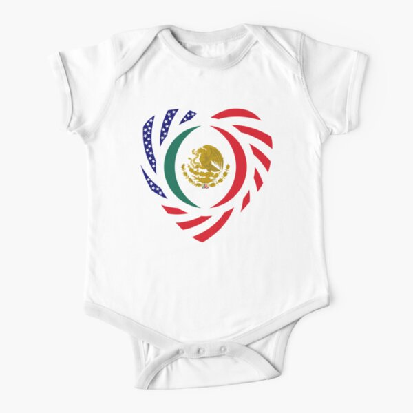 Mexican American Multinational Patriot Flag Series (Heart) Short Sleeve Baby One-Piece
