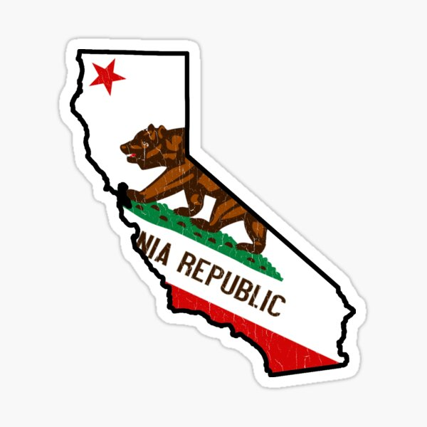 California State Bear Flag (vintage distressed design) Sticker