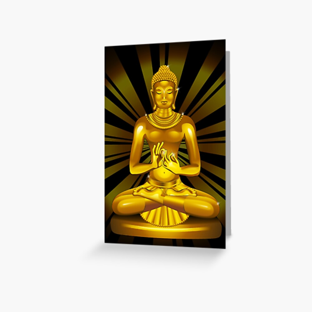 Buddha Siddhartha Gautama Golden Statue Greeting Card