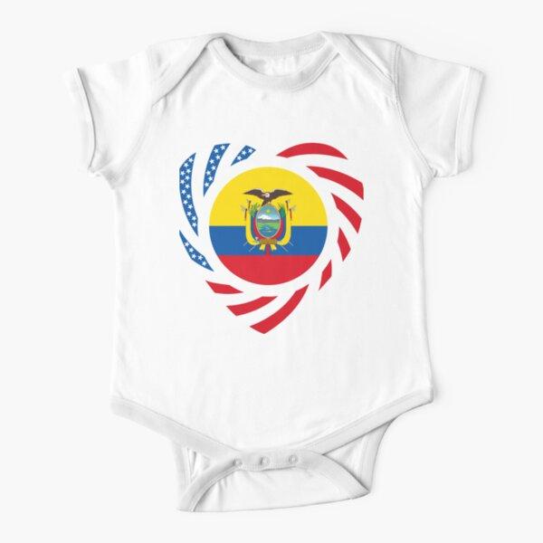 Ecuadorian American Multinational Patriot Flag Series (Heart) Short Sleeve Baby One-Piece