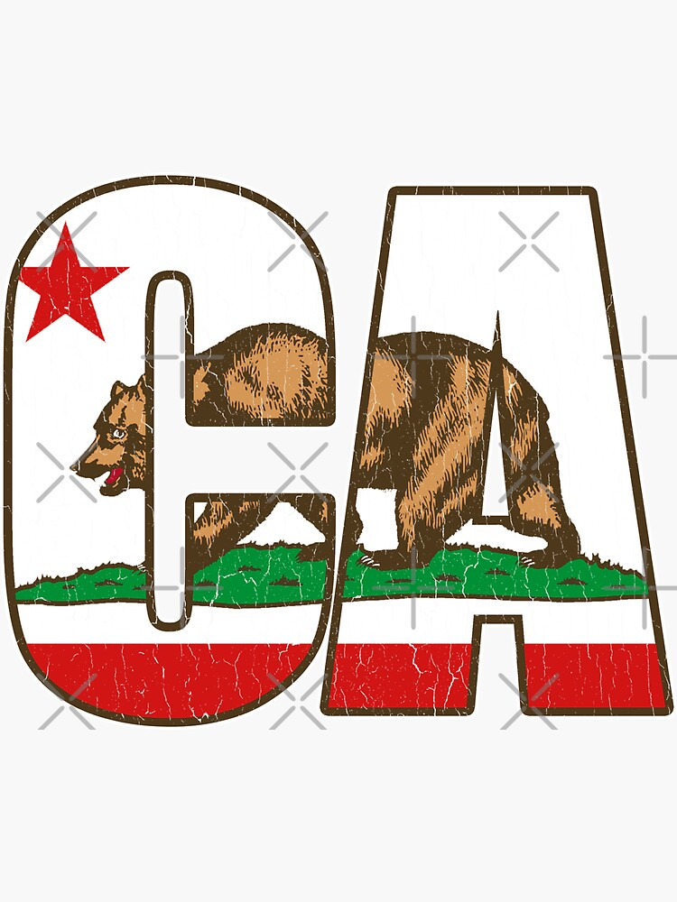 California Bear Flag (Distressed Vintage Design) by robotface