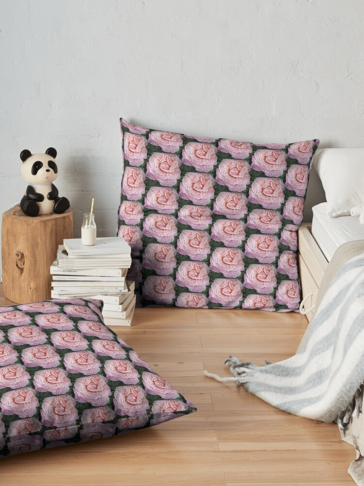 Alternate view of Pink Flower - Cracked Pink Rose Photography - Gift for Grandma Floor Pillow