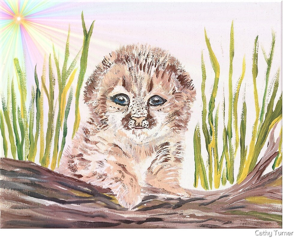 Cute baby leopard peeking out from the tall grass with the bright sun shining. by Cathy Turner