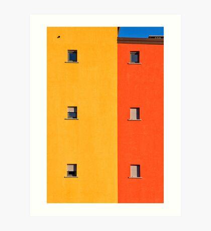 Yellow, orange, blue with windows Art Print