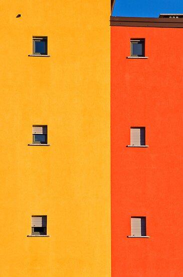 Yellow, orange, blue with windows by Silvia Ganora