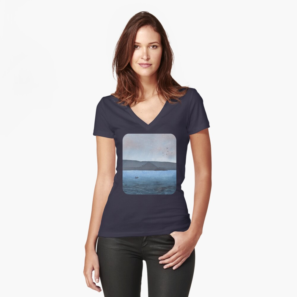 Berwick Law and Craig Leith, November 2018 Fitted V-Neck T-Shirt