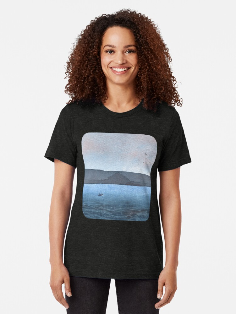 Alternate view of Berwick Law and Craig Leith, November 2018 Tri-blend T-Shirt