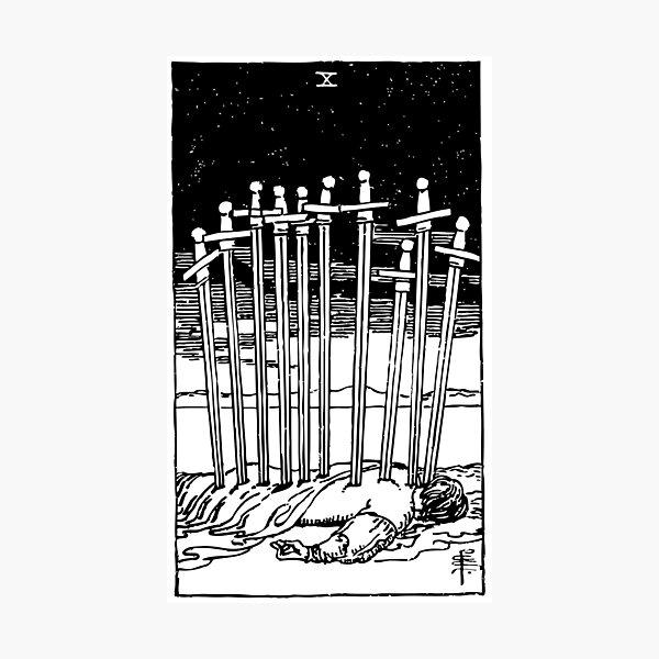 Tarot Card : 10 of Swords  | Ten of Swords  black & white Photographic Print