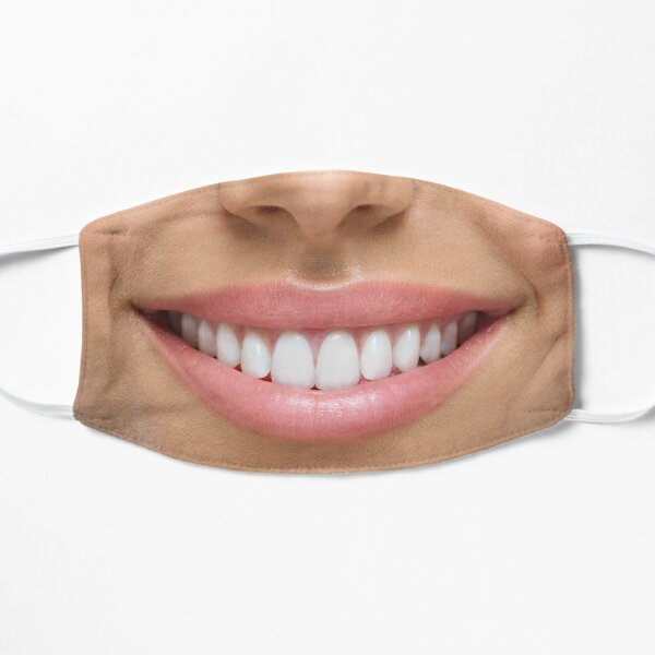 Real Female Girl Smiling Smile with Teeth Mask Flat Mask