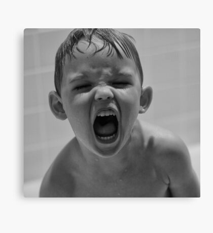 My boy screaming at me. Angry, mad. Raw energy B&W Canvas Print