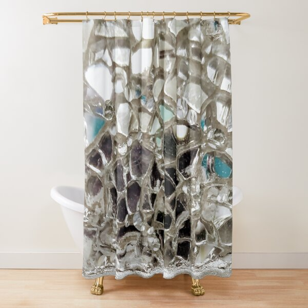 Silver Mirror and Glass Mosaic Shower Curtain