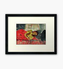 Sleeping comfortably, watercolor Framed Print