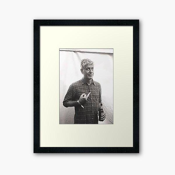 Tony Middle Finger Black and White Framed Art Print