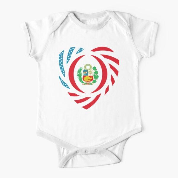 Peruvian American Multinational Patriot Flag Series (Heart) Short Sleeve Baby One-Piece