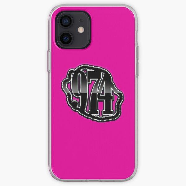 974 Ile de La Reunion - Logo -  Black metal & Fuchsia Coque souple iPhone