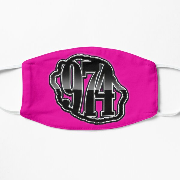 974 Ile de La Reunion - Logo -  Black metal & Fuchsia Masque taille M/L