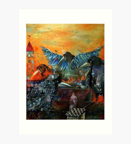 City Of Blue Birds Art Print