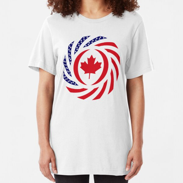 Canadian American Multinational Patriot Flag Series Slim Fit T-Shirt