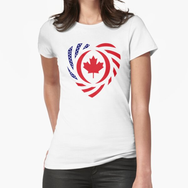 Canadian American Multinational Patriot Flag Series (Heart) Fitted T-Shirt