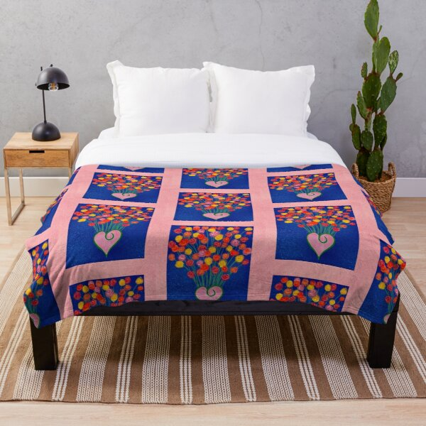 Flowers and love Throw Blanket