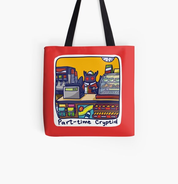 Part-TIme Cryptid Mothman Konbini All Over Print Tote Bag
