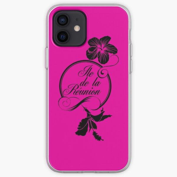 Hibiscus - Ile de La Reunion - Logo Noir Coque souple iPhone