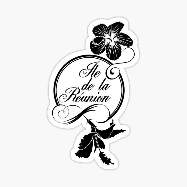 Hibiscus - Ile de La Reunion - Logo Noir Sticker