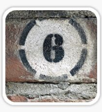 Six on Bricks Sticker
