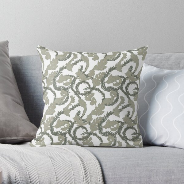 Acanthus Leaves Old Fashioned Floral Pattern Throw Pillow