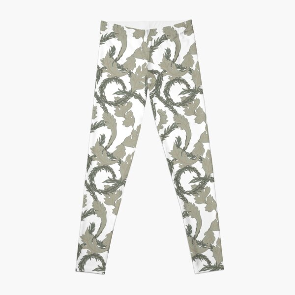 Acanthus Leaves Old Fashioned Floral Pattern Leggings
