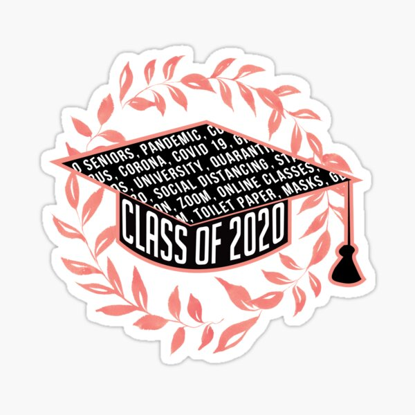 Class of 2020 Graduation Cap Red Crown Leaves Sticker