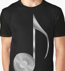 Vinyl Record Musical Eighth Note - Metallic - Steel Graphic T-Shirt
