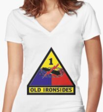1st Armored Division Crest Women's Fitted V-Neck T-Shirt