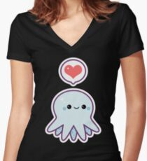 Cute Blue Octopus Women's Fitted V-Neck T-Shirt