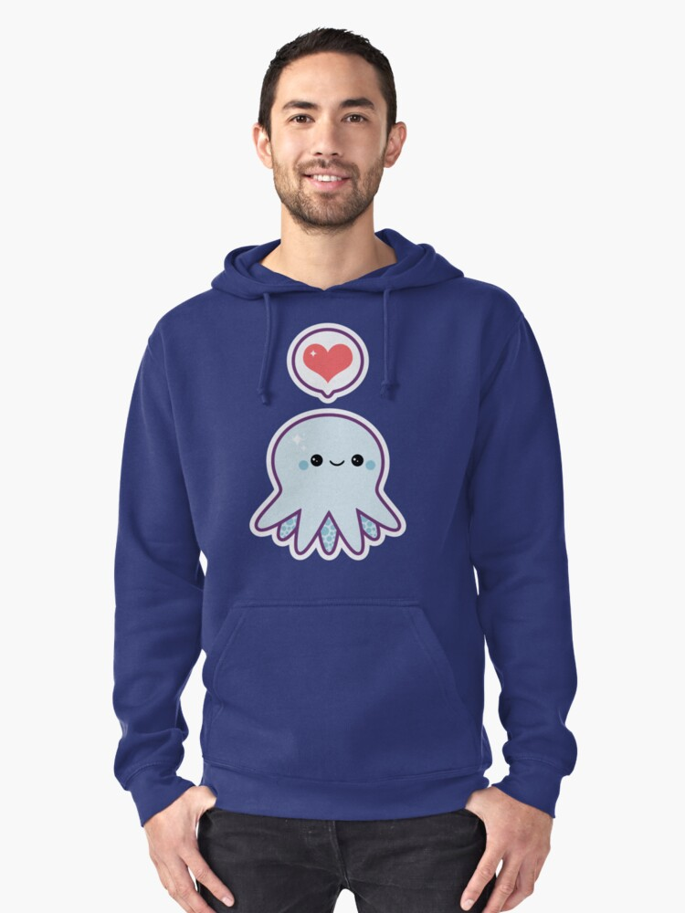 Cute Blue Octopus Pullover Hoodie Front