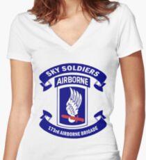 173rd Airborne Brigade Combat Team Crest Women's Fitted V-Neck T-Shirt
