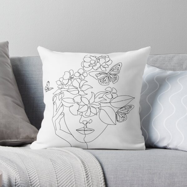 Abstract face with flowers by one line vector drawing. Portrait minimalistic style.  Botanical print. Nature symbol of cosmetics. Modern continuous line art.  Fashion print. Beaty salon logo.  Throw Pillow