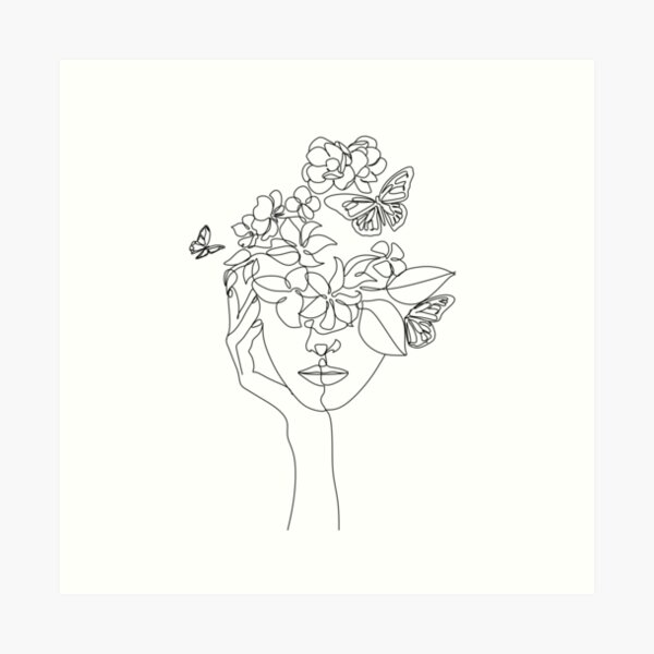 Abstract face with flowers by one line vector drawing. Portrait minimalistic style.  Botanical print. Nature symbol of cosmetics. Modern continuous line art.  Fashion print. Beaty salon logo.  Art Print